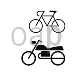 Bicycles and motorcycles wait